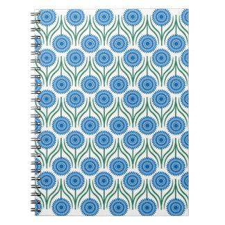 Modern blom- Mönster-Vit för blått Anteckningsbok Med Spiral