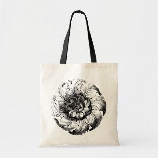 Modern blommadesign för vintage i svartvitt tote bag