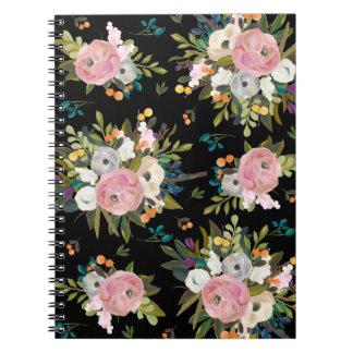 Modern blommigtträdgårdanteckningsbok anteckningsbok