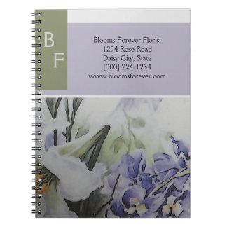 Modern blomsterhandlare anteckningsbok med spiral