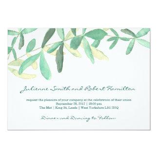 Modern botanisk grönskabröllopinbjudan 12,7 x 17,8 cm inbjudningskort