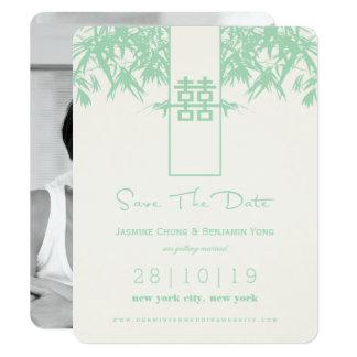 Modern bröllop spara datum för bambuZenkines 10,8 X 14 Cm Inbjudningskort
