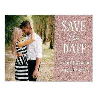 Modern bröllop spara datum för rosa guld- glitter vykort