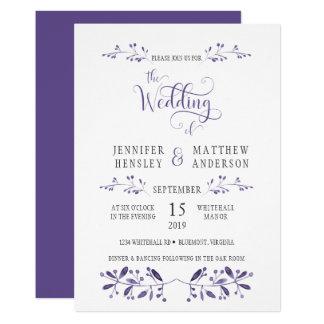 Modern bröllopinbjudan i ultraviolet 12,7 x 17,8 cm inbjudningskort