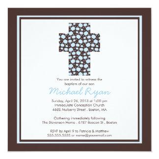 Modern brun inbjudan för dop för blåttkorpojkar
