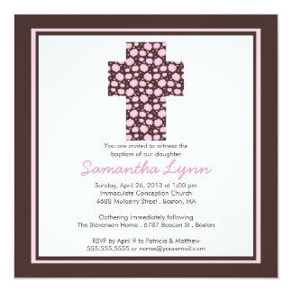 Modern brun inbjudan för dop för rosakorflickor