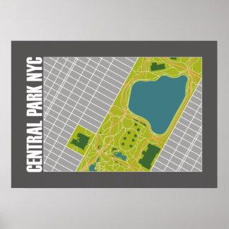Modern Central Park karta New York City 20 x 28 Poster