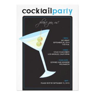 Modern cocktailpartyinbjudan aqua