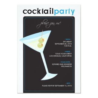 Modern cocktailpartyinbjudan (aqua) 12,7 x 17,8 cm inbjudningskort