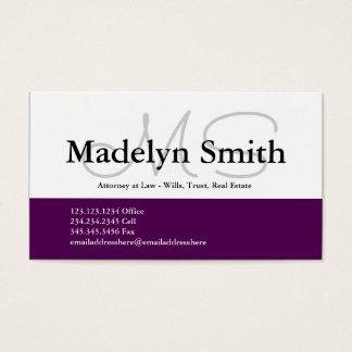 Modern djärv plommoninitialer - visitkort