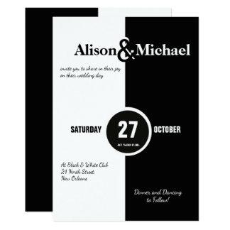 Modern djärv svartvit vitbröllopinbjudan 12,7 x 17,8 cm inbjudningskort