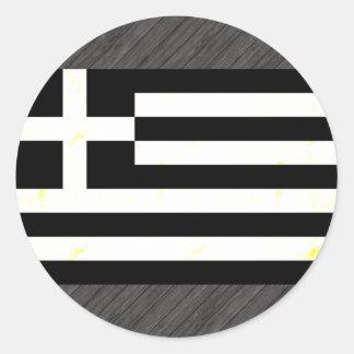Modern edgy grekisk flagga rund klistermärke