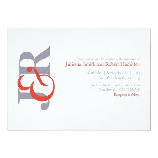 Modern elegant Monogrambröllopinbjudan 12,7 X 17,8 Cm Inbjudningskort
