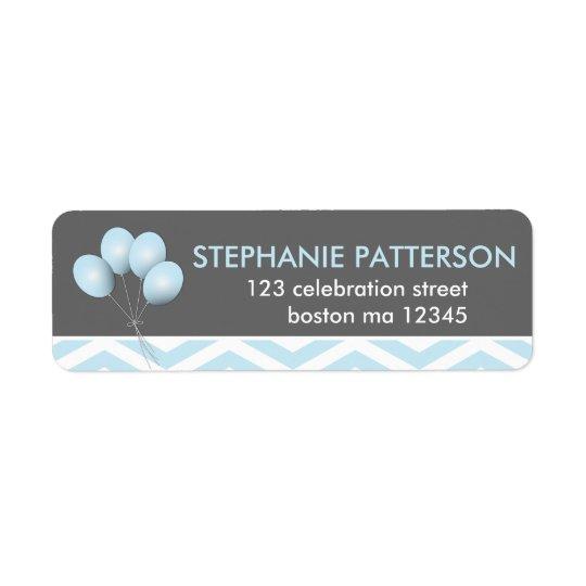 Modern etikett för blåttballongreturadress returadress etikett