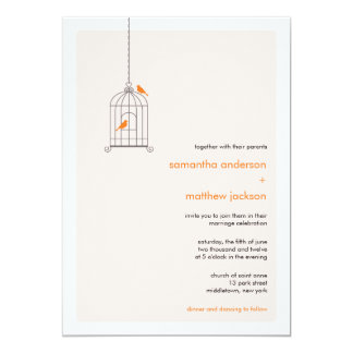 Modern fågelburbröllopinbjudan - orange 12,7 x 17,8 cm inbjudningskort