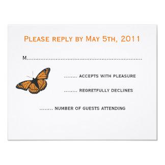 Modern fjärilsOSA kort - orange 10,8 X 14 Cm Inbjudningskort