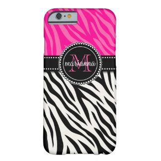 Modern flickaktigt svart rosa sebrapersonlig barely there iPhone 6 fodral