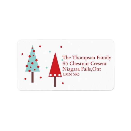 Modern förenklad julgranadressetiketter adressetikett