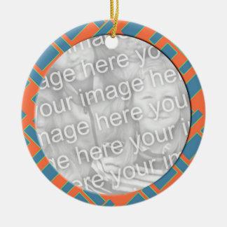 modern fotoram för orange blått julgransprydnad keramik