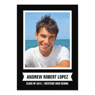 Modern fotostudenteninbjudan 12,7 x 17,8 cm inbjudningskort