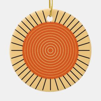 Modern geometrisk Sunburst - Mandarinorange Julgransprydnad Keramik