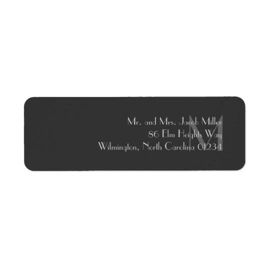 Modern grå Monogramreturetiketter Returadress Etikett