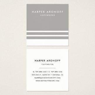 Modern Greige taupe- och vitrand Fyrkantigt Visitkort