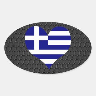 Modern grekisk flagga ovalt klistermärke