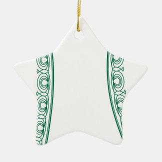 Modern grön broderi 6 julgransprydnad keramik