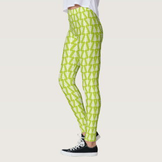 Modern grönt- och vitjulgran leggings