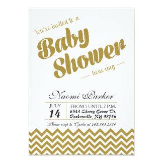Modern guld- glitterbaby showerinbjudan 12,7 x 17,8 cm inbjudningskort