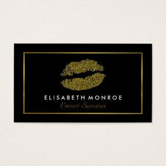 Modern guld- glitterläppar, tjänste- eskort visitkort