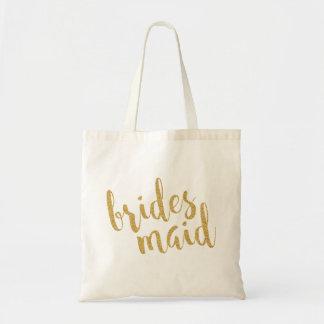 Modern guld- textdesign för brudtärna budget tygkasse
