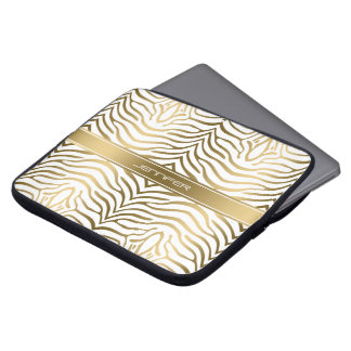 Modern guld- vitbakgrund för zebra ränder 2 datorskydds fodral
