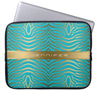 Modern guld- zebra ränderAqua-Blått bakgrund Laptop Fodral
