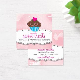 MODERN gullig muffinbageriblek - rosa akvarell Fyrkantigt Visitkort