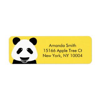 Modern gult för Pandabjörn Returadress Etikett