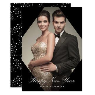 Modern helgdag för foto för nytt år för elegans 12,7 x 17,8 cm inbjudningskort