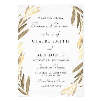 Modern inbjudan för bladguldbrölloprepetition