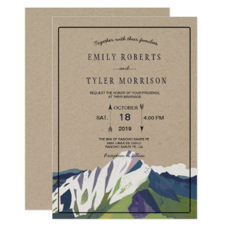 Modern inbjudan för bröllop för bergskogsmarkskog