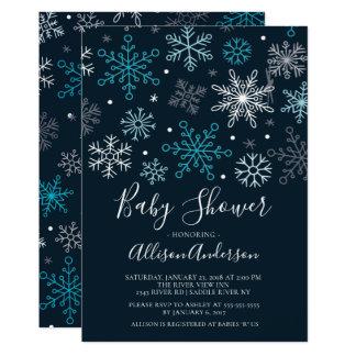 Modern inbjudan för snöflingorvinterbaby shower