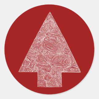 Modern julgran runt klistermärke
