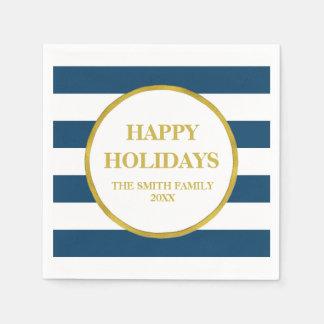 Modern julservett för guld- marinblåa randar servetter