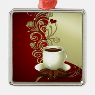 Modern kaffeälskare julgransprydnad metall