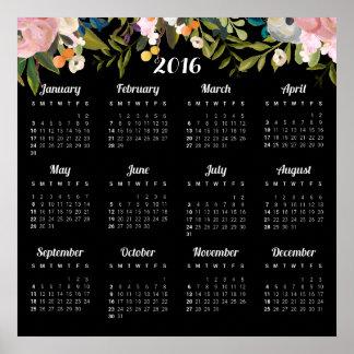 Modern kalender för blommigt 2016 poster
