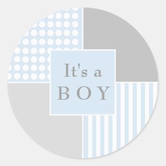 Modern klistermärke för pojkeblått