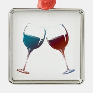 Modern konst för vinexponeringsglas julgransprydnad metall