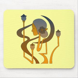 Modern konst Nouveau damen och månen Musmattor