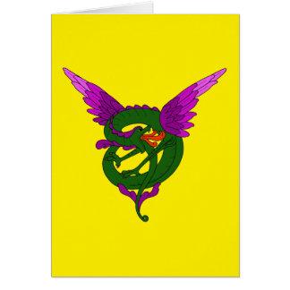 Modern konst Nouveau grön och purpurfärgad drake OBS Kort