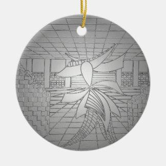 Modern konst stålsätter mode för grå julgransprydnad keramik